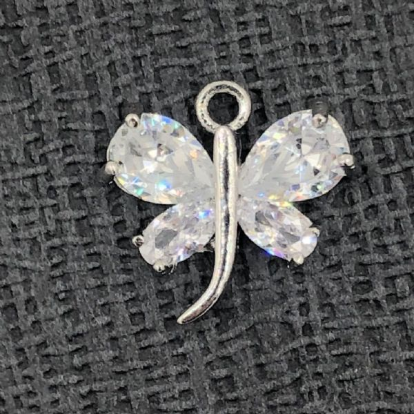 crystal butterfly / dragonfly - rhodium - 14mm x 15mm